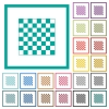 Chess board flat color icons with quadrant frames - Chess board flat color icons with quadrant frames on white background