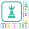 Black chess queen vivid colored flat icons - Black chess queen vivid colored flat icons in curved borders on white background