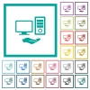 Shared computer flat color icons with quadrant frames - Shared computer flat color icons with quadrant frames on white background