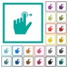 Left handed slide right gesture flat color icons with quadrant frames - Left handed slide right gesture flat color icons with quadrant frames on white background