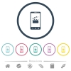 Smartphone film cut flat color icons in round outlines - Smartphone film cut flat color icons in round outlines. 6 bonus icons included.