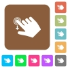 Right handed slide down gesture rounded square flat icons - Right handed slide down gesture flat icons on rounded square vivid color backgrounds.