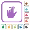 Left handed slide left gesture simple icons - Left handed slide left gesture simple icons in color rounded square frames on white background