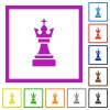 Black chess king flat framed icons - Black chess king flat color icons in square frames on white background