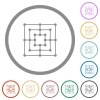 Nine men's morris game board flat color icons in round outlines on white background - Nine men's morris game board flat icons with outlines