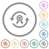 Renew certificate flat icons with outlines - Renew certificate flat color icons in round outlines on white background