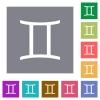 Gemini zodiac symbol square flat icons - Gemini zodiac symbol flat icons on simple color square backgrounds