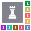 Black chess rook square flat icons - Black chess rook flat icons on simple color square backgrounds