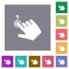 Right handed slide up gesture square flat icons - Right handed slide up gesture flat icons on simple color square backgrounds