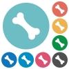 Single bone flat round icons - Single bone flat white icons on round color backgrounds