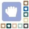 Right handed grab gesture rounded square flat icons - Right handed grab gesture white flat icons on color rounded square backgrounds