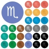 Scorpio zodiac symbol round flat multi colored icons - Scorpio zodiac symbol multi colored flat icons on round backgrounds. Included white, light and dark icon variations for hover and active status effects, and bonus shades.