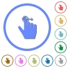 Right handed slide right gesture icons with shadows and outlines - Right handed slide right gesture flat color vector icons with shadows in round outlines on white background