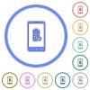 Mobile battery settings flat color vector icons with shadows in round outlines on white background - Mobile battery settings icons with shadows and outlines