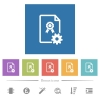 Generating certificate flat white icons in square backgrounds - Generating certificate flat white icons in square backgrounds. 6 bonus icons included.
