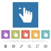 Right handed move left gesture flat white icons in square backgrounds - Right handed move left gesture flat white icons in square backgrounds. 6 bonus icons included.
