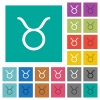 Taurus zodiac symbol square flat multi colored icons - Taurus zodiac symbol multi colored flat icons on plain square backgrounds. Included white and darker icon variations for hover or active effects.