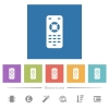 Remote control flat white icons in square backgrounds - Remote control flat white icons in square backgrounds. 6 bonus icons included.