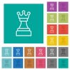 White chess queen square flat multi colored icons - White chess queen multi colored flat icons on plain square backgrounds. Included white and darker icon variations for hover or active effects.