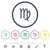 virgo zodiac symbol flat color icons in round outlines - virgo zodiac symbol flat color icons in round outlines. 6 bonus icons included.