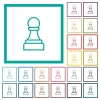 White chess pawn flat color icons with quadrant frames - White chess pawn flat color icons with quadrant frames on white background