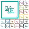 Share mobile internet flat color icons with quadrant frames - Share mobile internet flat color icons with quadrant frames on white background