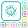 Roulette wheel vivid colored flat icons - Roulette wheel vivid colored flat icons in curved borders on white background