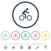 Bicycle with rider flat color icons in round outlines - Bicycle with rider flat color icons in round outlines. 6 bonus icons included.