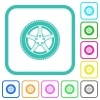 Car wheel vivid colored flat icons - Car wheel vivid colored flat icons in curved borders on white background