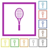 Single tennis racket flat framed icons - Single tennis racket flat color icons in square frames on white background