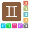 Gemini zodiac symbol rounded square flat icons - Gemini zodiac symbol flat icons on rounded square vivid color backgrounds.