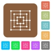 Nine men's morris game board rounded square flat icons - Nine men's morris game board flat icons on rounded square vivid color backgrounds.