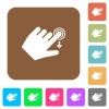 Left handed slide down gesture rounded square flat icons - Left handed slide down gesture flat icons on rounded square vivid color backgrounds.