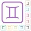 Gemini zodiac symbol simple icons - Gemini zodiac symbol simple icons in color rounded square frames on white background