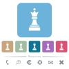 Black chess queen rounded square flat icons - Black chess queen white flat icons on color rounded square backgrounds