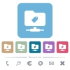 FTP tag rounded square flat icons - FTP tag white flat icons on color rounded square backgrounds