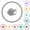 Left handed pinch close gesture flat icons with outlines - Left handed pinch close gesture flat color icons in round outlines on white background
