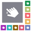 Right handed move down gesture square flat icons - Right handed move down gesture flat icons on simple color square backgrounds