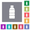 Water bottle square flat icons - Water bottle flat icons on simple color square backgrounds