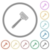 Razor flat icons with outlines - Razor flat color icons in round outlines on white background