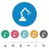 Robot arm flat white icons on round color backgrounds. 6 bonus icons included. - Robot arm flat round icons