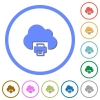Cloud printing icons with shadows and outlines - Cloud printing flat color vector icons with shadows in round outlines on white background