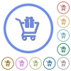 Gift shopping icons with shadows and outlines - Gift shopping flat color vector icons with shadows in round outlines on white background