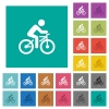 Bicycle with rider square flat multi colored icons - Bicycle with rider multi colored flat icons on plain square backgrounds. Included white and darker icon variations for hover or active effects.