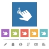 Right handed slide up gesture flat white icons in square backgrounds - Right handed slide up gesture flat white icons in square backgrounds. 6 bonus icons included.