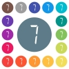 digital number seven of seven segment type flat white icons on round color backgrounds - digital number seven of seven segment type flat white icons on round color backgrounds. 17 background color variations are included.