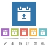 Upload schedule data flat white icons in square backgrounds - Upload schedule data flat white icons in square backgrounds. 6 bonus icons included.