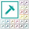 Old hammer flat color icons with quadrant frames - Old hammer flat color icons with quadrant frames on white background