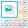 Drag image to top left flat color icons with quadrant frames - Drag image to top left flat color icons with quadrant frames on white background