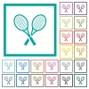 Two tennis rackets flat color icons with quadrant frames - Two tennis rackets flat color icons with quadrant frames on white background